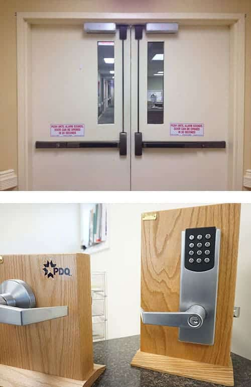 image of commercial-grade doors (top) and a commercial door handle and keypad lock (bottom)