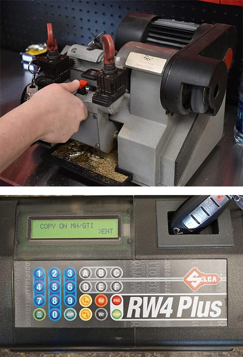 image of a car key being cut and a key fob being programmed
