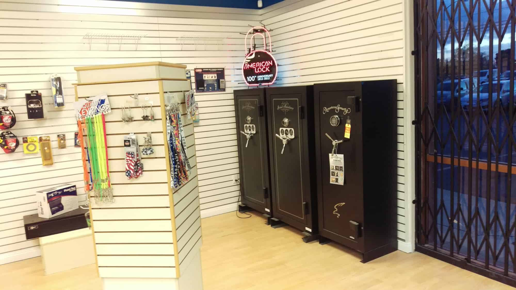 image of some safes inside Lockmaster's retail location